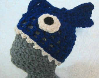 Crocheted Fish Hat 'Brain Food' Super Cosy, Soft, Stretchy, Unisex Adult Hat, Quirky, Silly Gift. Available Now In Deep/Royal Blue