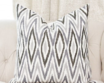 Martyn Lawrence Pillow Cover - Gray Black & Ivory Geometric Pillow Cover - Zebide Linen - Grey Chevron Throw - Charcoal - Motif Pillow