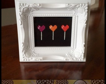 Lolly Pop Trio -  Cross Stitch Pattern ( Printable PDF )  - Immediate Download from Etsy -  Valentine Love Candy Sweet SugarStitch