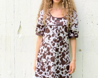 Upcycled Dress , Boho Dress , brown floral dress , shift dress , Shabby Chic Romantic , Womens size medium , repurposed clothing