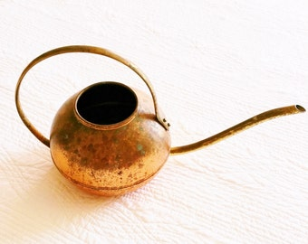 Vintage Cottage Home Distressed Copper Watering Can, Romantic Home, Olives and Doves
