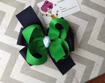 Navy, Green and White School Uniform Hair Bow