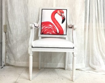 Pink Coral Flamingo Upholstered French Louis XVI Armchair Painted White Semi Gloss and White Faux Leather UpholsteredOn