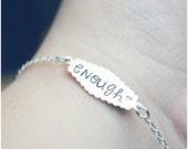 I Am Enough Bracelet - Hand Stamped Enough Bracelet - Sterling Silver Inspirational Jewelry - Women Empowerment - Statement Bracelet