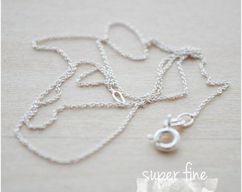 "Sterling Silver Necklace Chain - Sterling Silver Necklace for Mom - Christmas Gifts for Mom - 16"" Super Fine Chain Necklace"