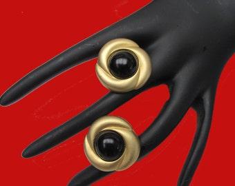 Norma Jean Earrings Gold Black Clip On button earrings