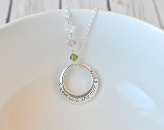 Mom Necklace - Personalized Mothers Necklace Birthstones - I Love You To The Moon And Back