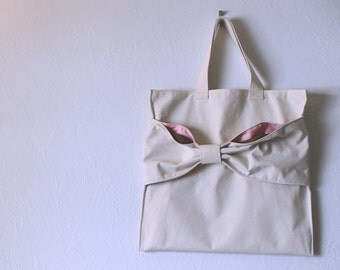 Brown and Pink Lined Purse - Minimalist Simple Beautiful - Luxurious Market Tote Handbag