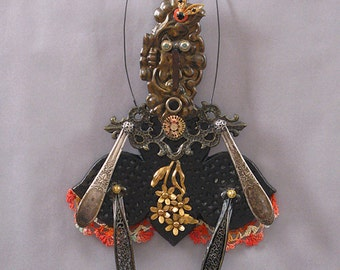 ASSEMBLAGE ART DOLL - Mix media assemblage, Mix media art doll, Found object art doll - Blossom