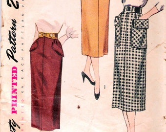 "Vintage 1950 Simplicity 3330 Straight Skirt Sewing Pattern Waist 26"" Hip 35"""
