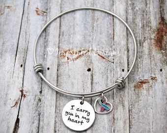 Charm Bracelet - Charm Bangle - Mother Bracelet - Personalized - Adjustable - PAIL - Loss - I Carry You In My Heart - Miscarriage
