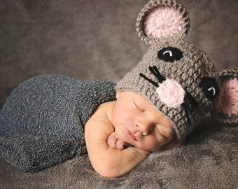 Mouse Costume, Mouse Crochet Photo Prop, Mouse Hat, Mouse Beanie, Baby Mouse, Baby Shower Gift, Mouse Baby, Mouse Baby Gift, Newborn Costume