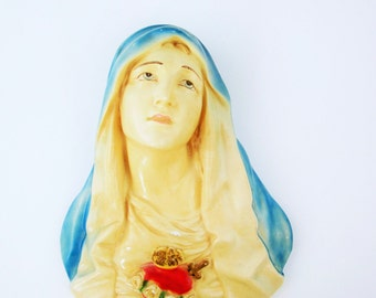 "Large Plaster Wall Sculpture - Mournful and Elegant 13"" Beautifully Painted 'The Virgin Mary' - 75-years-old - church adornment"