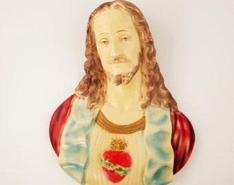 "Large Plaster Wall Sculpture of 'Jesus Christ' - 75-years-old - Church Sculpture - Mournful and Elegant 13"" Beautifully Painted"