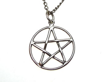 Sterling Silver Classic Pentacle Pendant, Interwoven Pentagram Necklace, Pagan Jewelry, Wiccan Pentagram Necklace, SE-1519