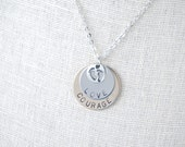 Pregnancy Necklace - Hand Stamped Disk Pendant - Love - Courage - Baby - New Birth