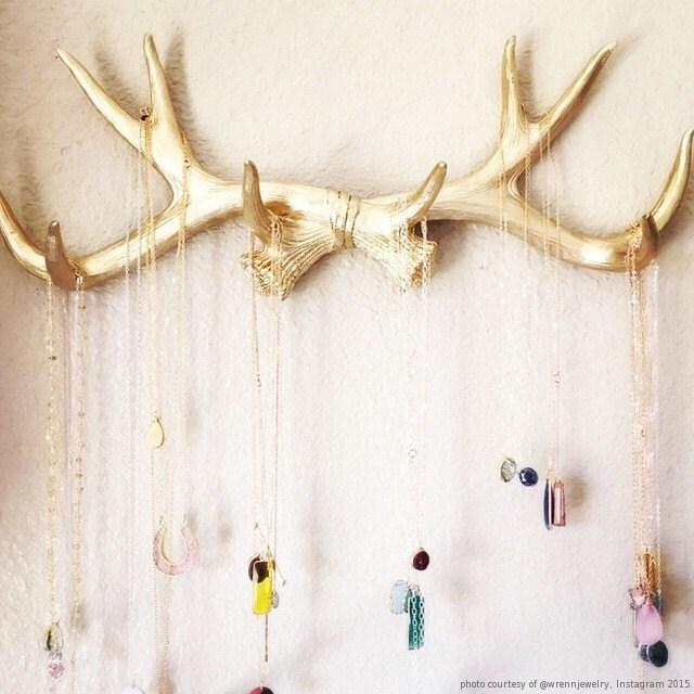 Faux Deer Antlers Rack In Gold Deer Antler Decor Wall Hook