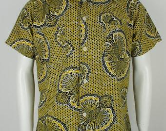 Vintage 1960's Ethnic Batik Shirt size Large