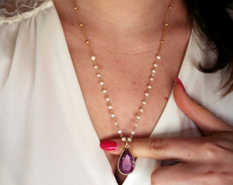 Vermeil necklace with faceted ruby jade cabochon and rosary pearls chain-sterling silver findings-semiprecious stones and rosary chain