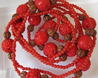 CZECH Style Art Deco Flapper Long RED Molded Pressed Glass Bead Rope Necklace/ Flower Glass Beads/ Summertime Chic Fashion/ Long or Double