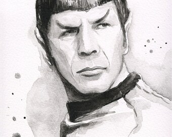Spock Portrait, Spock Print, Spock Art, Art Print of Watercolor Painting, Star Trek Art, Sci-Fi, Leonard Nimoy, Star Trek Print