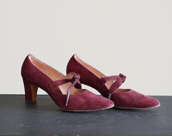 Vintage Size 7 1/2 Cranberry Suede Pumps Heels Palter Debs