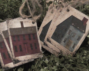 Primitive House 1803 Red & Blue Saltbox Hang Tags