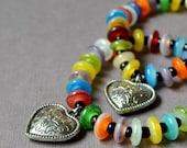 Boho Chic Multicolor Bracelet Silver Heart Stacking Bohemian Stretch India Beads Fashion Jewelry Rainbow Colors PaisleyBeading Free Shipping