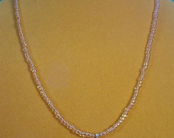 "Sparkling pink AB glass and Pearl 19"" necklace - N334"