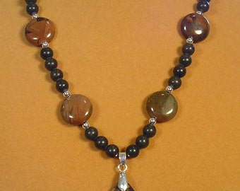 "18-1/2"" of Natures Beauty!  Piccasso Jasper Necklace - N403"