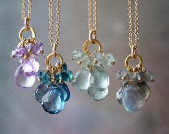 Gemstone Cluster Necklace with Gold Chain, London Blue Topaz, Labradorite, Moss Aquamarine or Amethyst Charm Clusters on Gold Vermeil Rings