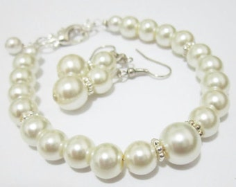 Wedding Jewelry - Flower Girl Set, Flower Girl Accessories, Pearl Bracelet and Earring Set