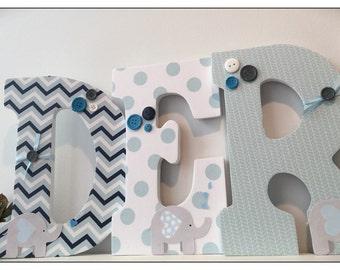 Elephant Nursery wood Letters. Blue. Navy. Nursery decor. Name letters. Baby Boy. Nursery Ideas. Baby. Gray. Grey.Elephants.