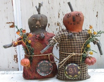 "Made to Order ~Primitive Grungy Folk Art ~ 6"" tall Stump Pumpkin Doll  Set~ Cupboard Tucks~HAFAIR"