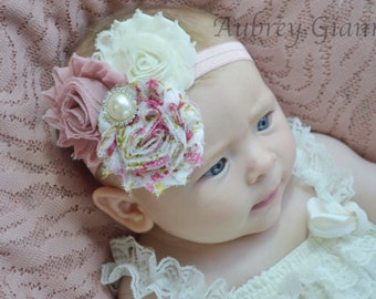 Shabby chic Baby Headband, Dusty pink Headband, Toddler Headband, Newborn headband, baby hair bow, Newborn photo prop, hair accessories.