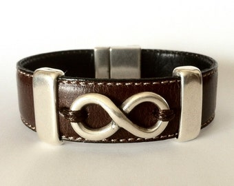 mens leather bracelet. Infinity for mens. Infinity bracelet, leather bracelet for men, leather bracelet. Silver infinity