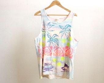 tie dye STRAPPY petite TANK TOP geometric pattern petite shirt