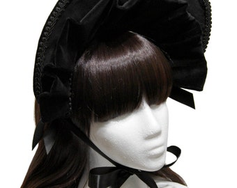 Beautiful Black Kuro Velveteen Gothic and Lolita Bonnet - Made to Order