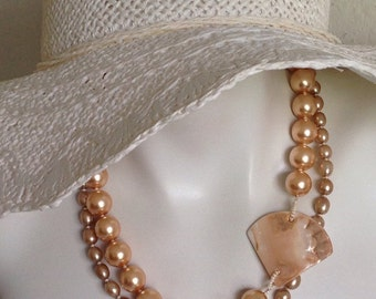 Multi Strand Peach Pearl Necklace, Asymetrical Mother-Of-Pearl Focal, .925 Sterling Silver