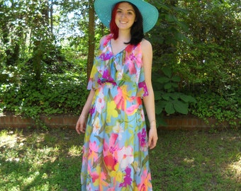 Vintage Paul Stanley Floral Print Maxi Dress in Watercolors circa 1960s to 70s