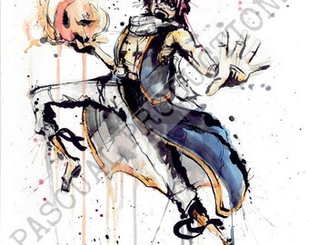 Natsu Fairy Tail Anime Character Watercolor Painting Print Natsu