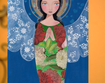 Angel of love, Folk art, Original Mixed Media Painting On Wood Panel 8 x10 inch (20.5X 25.5 cm) by Evona