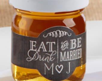 Personalized Honey Jar Favors; Personalized Wedding Favors, Bridal Shower Favors, Rustic Wedding Favors