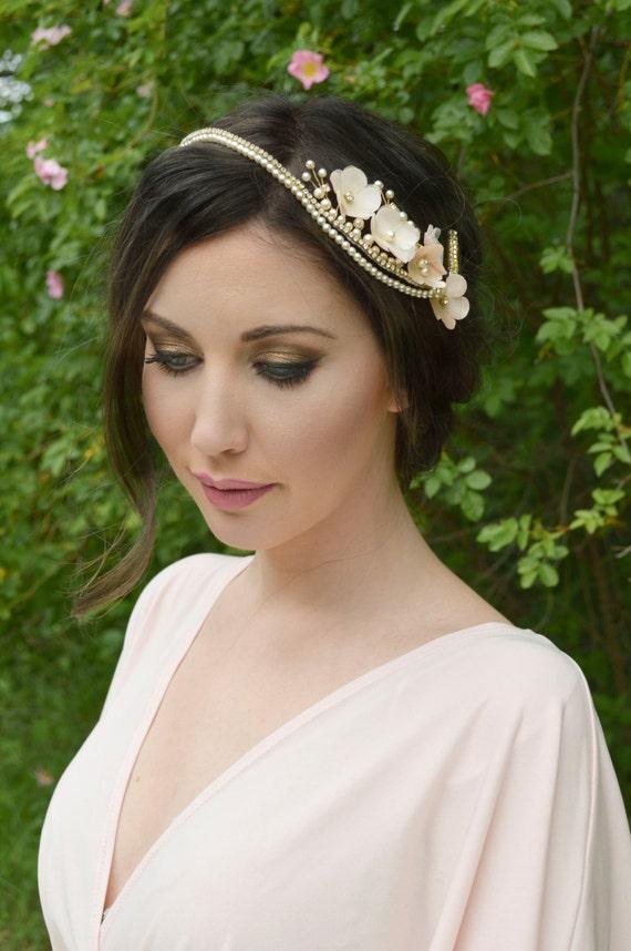 Bridal headpiece, Floral Hair Vine, Flower Hairpiece, Cherry Flowers, Hair Jewelry Wedding Hair Accessories
