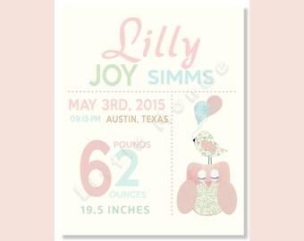 Baby Girl Nursery Prints, Birth Announcement, Custom Birth Statistics, Birth Details, Pastel Nursery, Pink Teal, French Nursery, Blush