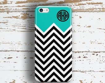Gift idea for teen girls Chevron phone case Aqua blue black, Preppy Girls Geometric Fits iPhone 4/4s 5/5s 6/6s 7 8 5c SE X and Plus (9862)