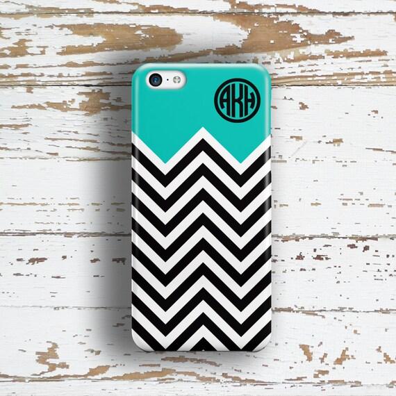 Gift idea for teen girls Chevron Iphone 6 case Aqua blue black, Preppy Iphone 5c case, Girls Iphone 6s case, Geometric Iphone 5 case (9862)