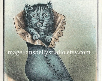 Kitten In Fancy Boot  Instant Digital Download 1800's Ludlow's Shoes Trade Card Reproduction Antique Image Ladies Fine Shoes