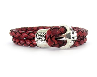 Unisex Braided Red Leather Bracelet - Leather Bracelet - Unisex Bracelet - Unisex Jewelry - Red Bracelet - For Men - For Women - UL11008