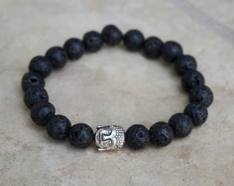 Black Buddha Bracelet, Men's Beaded Bracelet, Lava Rock Bracelet for Men, Black Mala Bracelet, Yoga Jewelry, Energy Bracelet